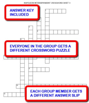 Napoleon: Interdependent Crossword Puzzles Activity