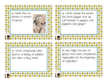 Napoleon's Buttons Chapter 1 Task Cards - Peppers, Nutmeg and Cloves