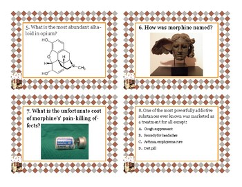 Napoleon's Buttons Chapter 13 Task Cards - Morphine, Nicotine, Caffeine