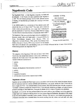Napoleonic Code Reading