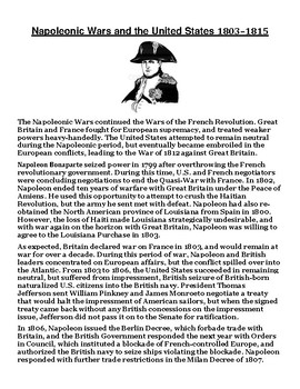 Napoleonic Wars and the United States Article with Summary Assignment
