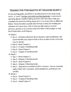 Narnia Chapter Reading Guide