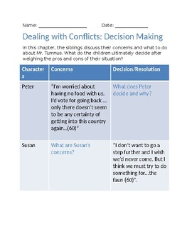 Narnia: Dealing with Conflict Worksheet