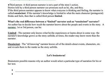 Narration in Literature: Handout, Graphic Organizer, and Activity (Narrators)