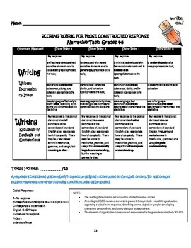 Narrative Analysis Task Complete with Writing-Set 2 w/scoring rubric