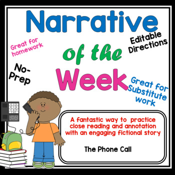 Narrative Article of the Week #2- Fiction Story- Close Reading grade 3 4 5