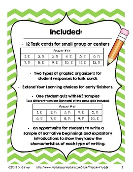 Narrative Beginnings and Expository Introductions Task Cards and Activities