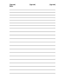 Narrative Bell Work Writing / Journal