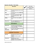 Narrative Self Assessment Checklist and Goal Setting: Grade 1
