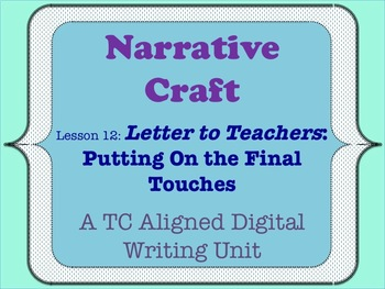 Narrative Craft - Putting on the Final Touches