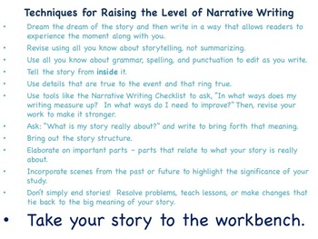 Narrative Craft - Taking Writing to the Workbench