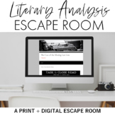 Literary Analysis Escape Room (Breakout) for Grades 9-12 P