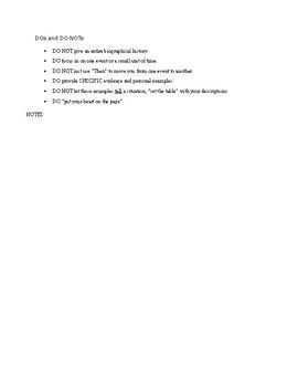 Narrative Essay - Autobiographical Story Handout