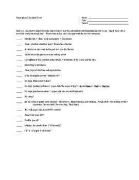 Narrative Essay - Biography Story - Editing Checklist