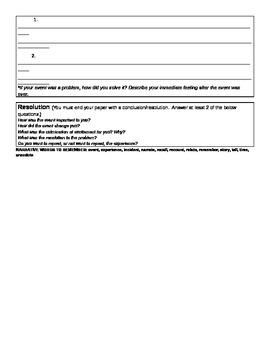 Narrative Essay Graphic Organzer