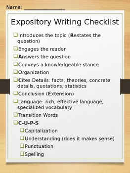 Narrative & Expository Writing Checklists