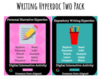 Narrative & Informative Writing Hyperdoc / Digital Interactive Activity Two Pack