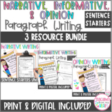 Narrative, Informative, and Opinion Paragraph Writing Sent
