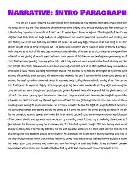 Narrative Introductory Paragraph - Steps, Examples, SHOW NOT TELL, Editing!
