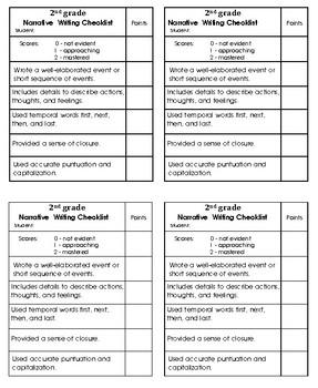 2nd grade Narrative Non-fiction Writing Checklist