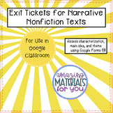 Narrative Nonfiction Exit Tickets for GOOGLE DRIVE