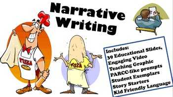 NARRATIVE WRITING 5 6 7 8 9 teaching slides, practice prompts FUN test prep