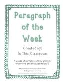 Narrative Paragraphs of the Week Sample