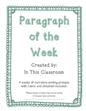 Narrative Paragraphs of the Week