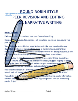 Narrative Peer Editing - Round Robin Style