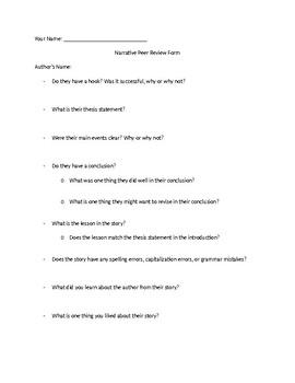 Narrative Peer Review Form
