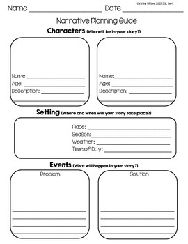 Narrative Planning Pages, Graphic Organizers