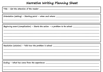 Narrative Planning Writing Sheet