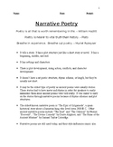 Narrative Poetry - Comprehensive Study Guide Packet - CCSS Aligned
