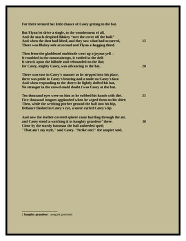 Narrative Poetry Example: Casey at the Bat