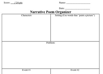 Narrative Poetry Graphic Organizer