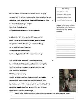 """Narrative Poetry- """"Highwayman"""" by Alfred Noyes"""