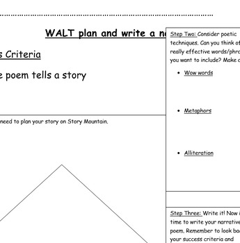 Narrative Poetry Planning frame and rubric