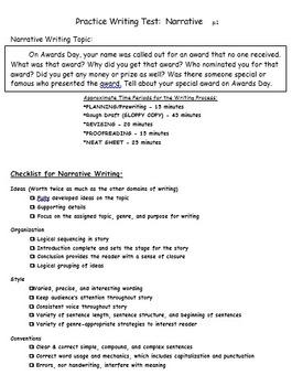 Narrative Practice Writing Test
