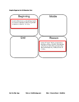 Narrative Pre Writing Organizer