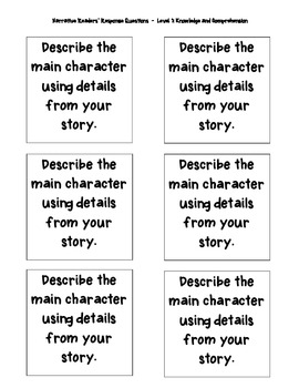 Narrative Readers Response Journal Prompts (Knowledge/Comprehension)