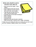 Narrative Reading Response and Sticky Notes List