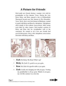 Narrative Reading Selection & Test Questions, A Picture for Friends, Grades 2-3