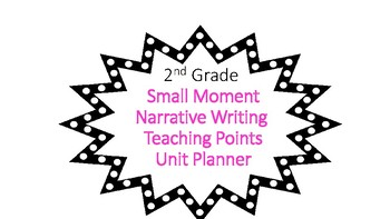 Second Grade Narrative Small Moment Unit Planner with Common Core Standards