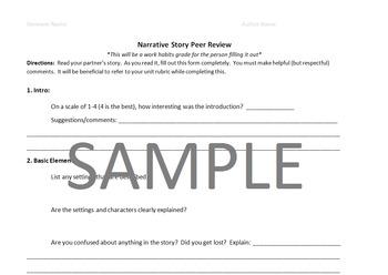 Narrative Story Peer Review Worksheet