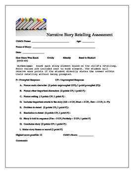 Narrative Story Retelling Assessment- Quick and Effective!