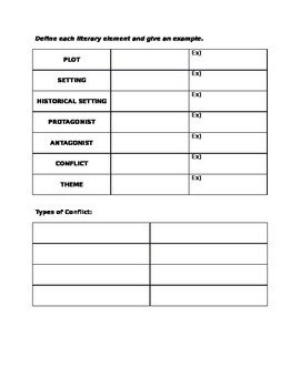 Narrative Structure Literary Elements worksheet