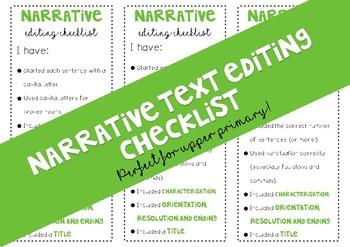 Narrative Text Editing Checklist