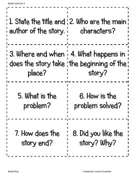 Narrative Text Structure: Retell Ring
