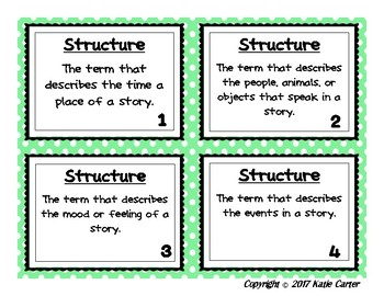 Narrative Text Structure Vocabulary Task Cards