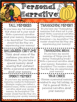 """Narrative """"Work on Writing"""" for Upper Elementary: Fall, Halloween & Thanksgiving"""